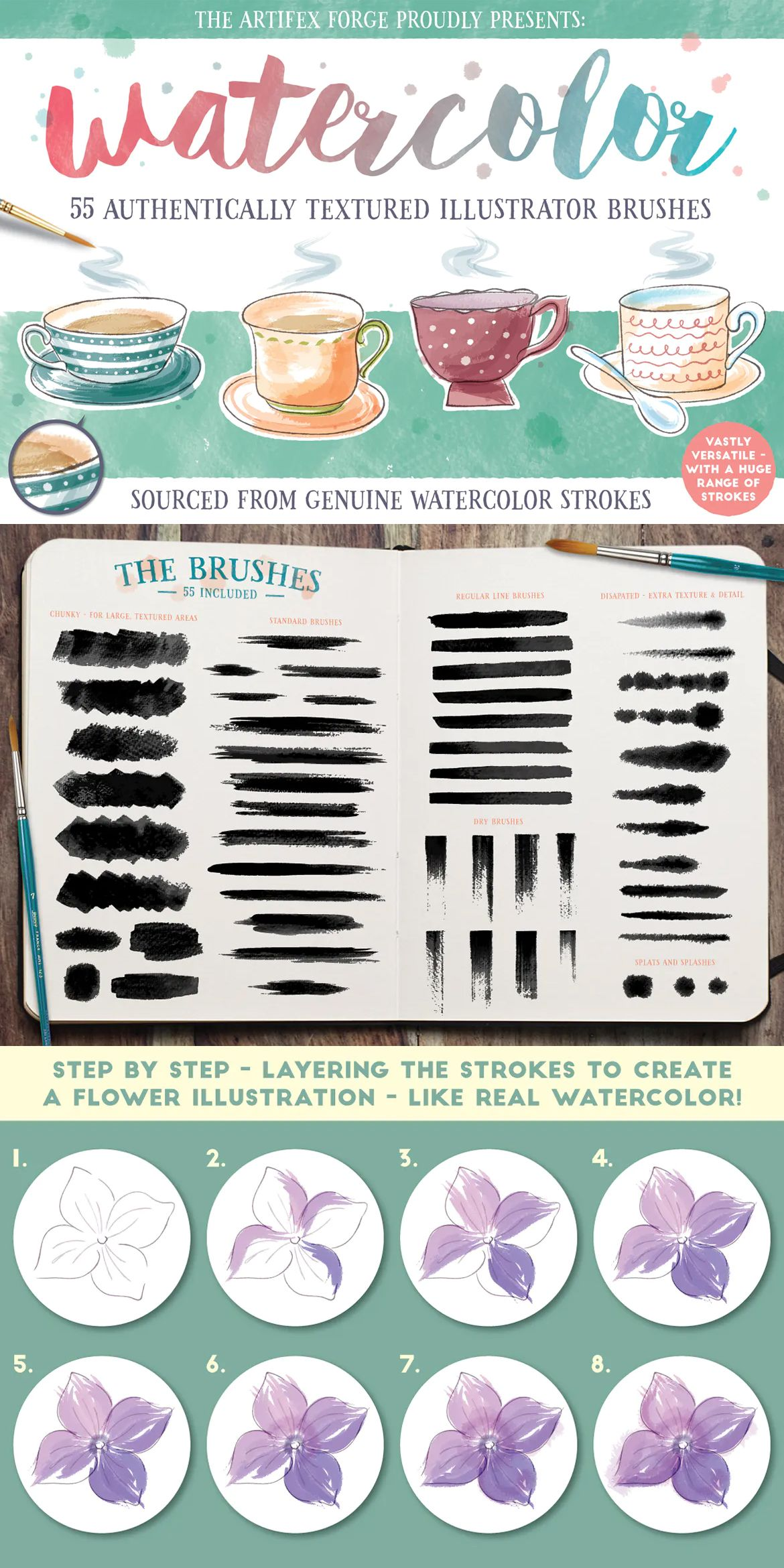 Watercolor Brushes For Adobe Illustrator Download