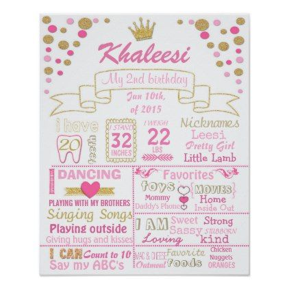 Princess Crown Confetti Birthday poster sign - #birthday #gifts - confeti