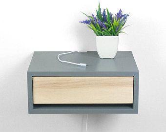 Devon gris table de chevet contemporain, flottant mur Mont table de ...