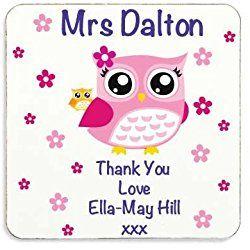 Personalised Pink Owl Thank You Teacher Cork Coaster Gift Thankyou Teacher