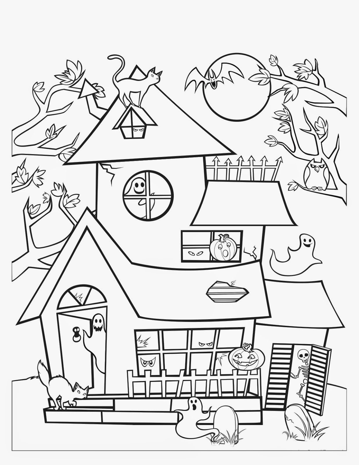 Image Result For Free Printable Halloween Haunted House Halloween Coloring Pages Printable House Colouring Pages Kids Printable Coloring Pages