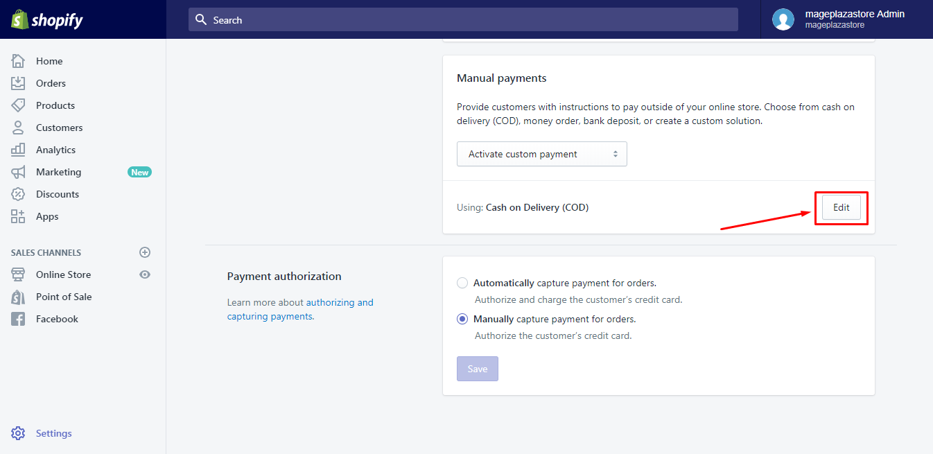 Learn to deactivate a manual payment method on Shopify