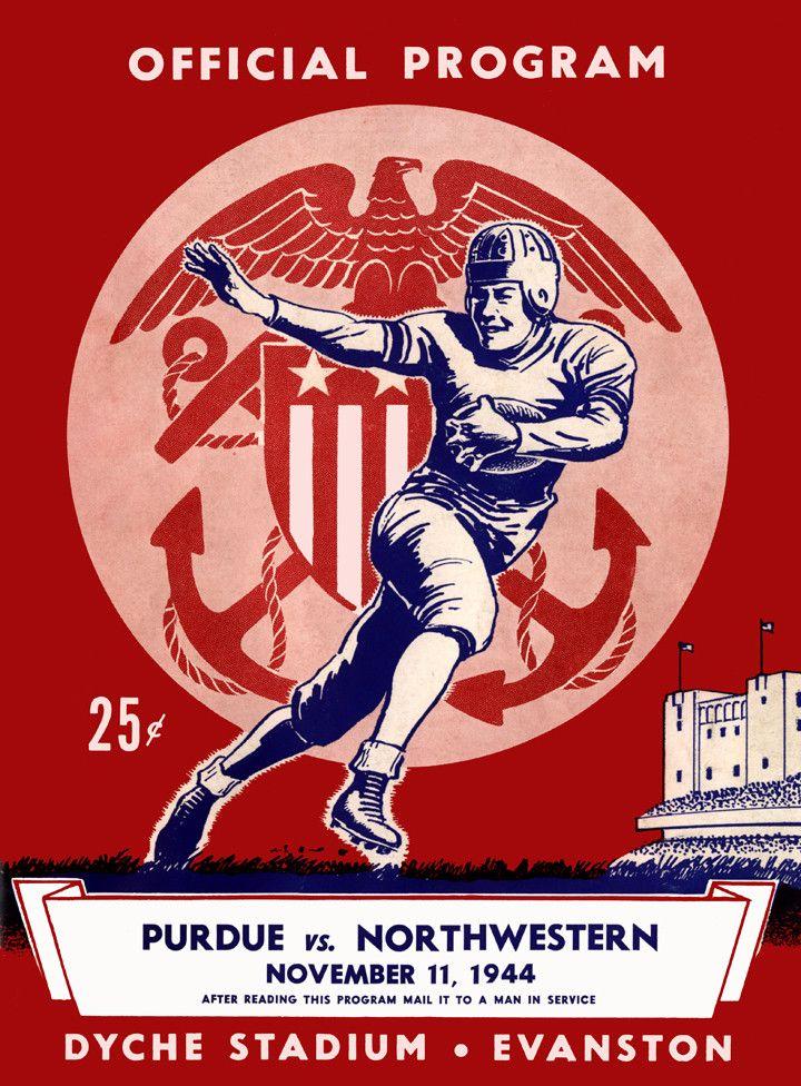 1944 Northwestern Wildcats vs Purdue Boilermakers 36 x 48