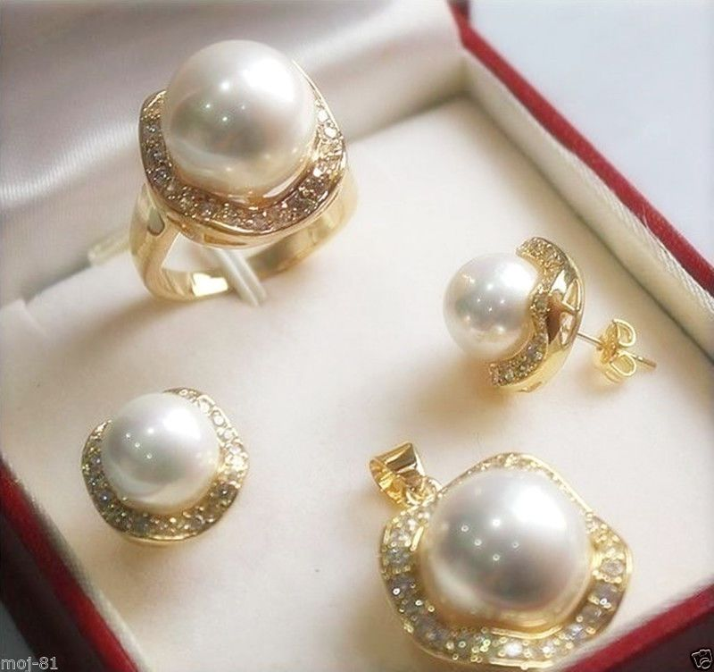 Genuine 10mm South sea Shell Pearl Earrings//Ring//Pendant Necklace Set