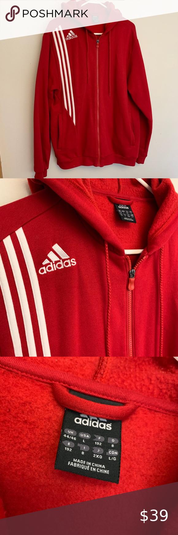 Adidas Hoodie Red Zip Up Size Men S Large Adidas Hoodie Red Zip Ups Red Hoodie [ 1740 x 580 Pixel ]