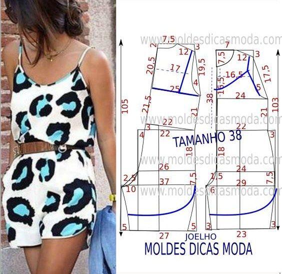 MOLDE DE MACACÃO COM ALÇAS PASSO A PASSO | Molde, Costura y Patrones