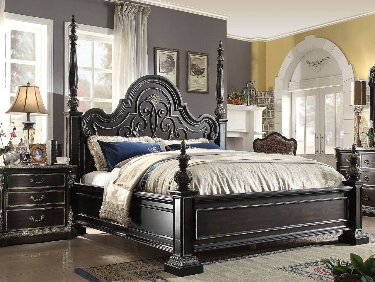 Ardentown 2 Pc Weathered Oak Panel Bed And Nightstand Bedroom