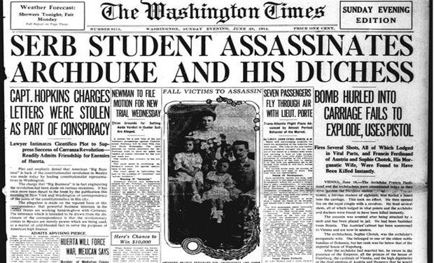 The Star's report on the assassination of Archduke Ferdinand