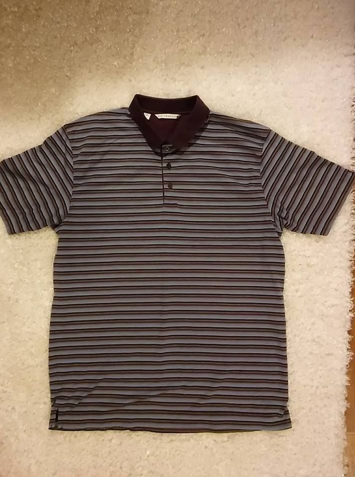 Cutter & Buck Mens size L Polo Shirt -  100% Cotton Purple/Multi Color Stripe #CutterBuck #PoloRugby