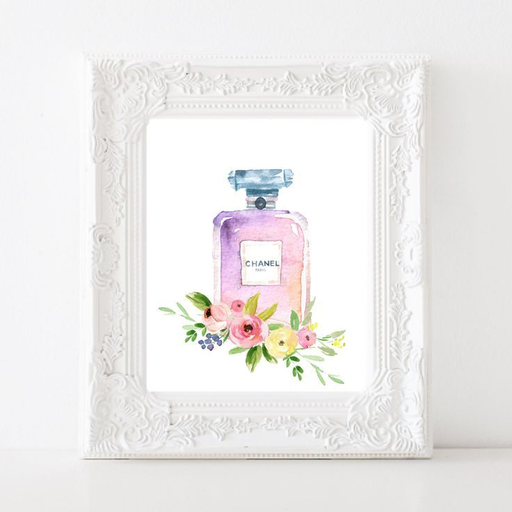 Chanel perfume bottle watercolor floral printable French wall art Chanel Fashion illustration Home decor Bath wall art  Instant download by SansSouciPrintables on Etsy