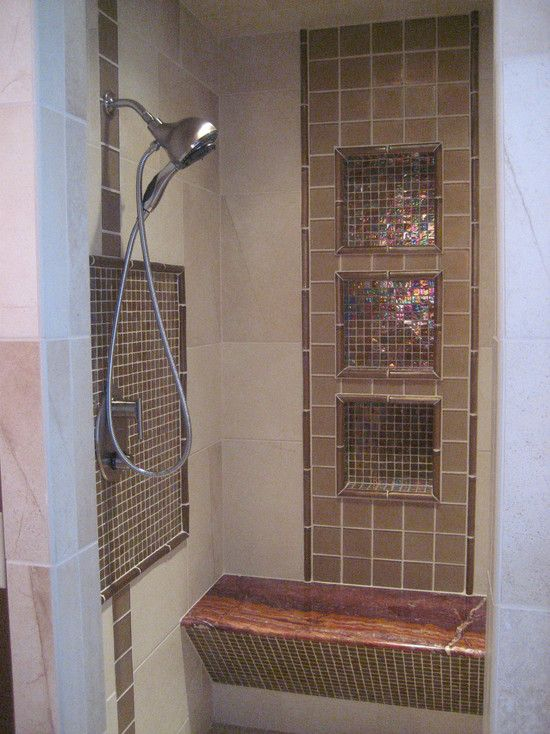 Gorgeous Shower With A Natural Stone Shelf And Iridescent