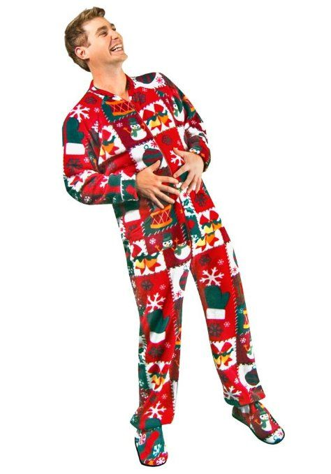 98517e8783ab Amazon.com  Ugly Christmas Sweater Footed Pajamas for Adults Fleece ...