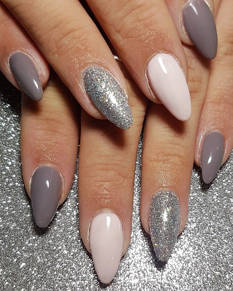 Gel Overlay Pink And Grey Nails With Silver Glitter Summer Nails