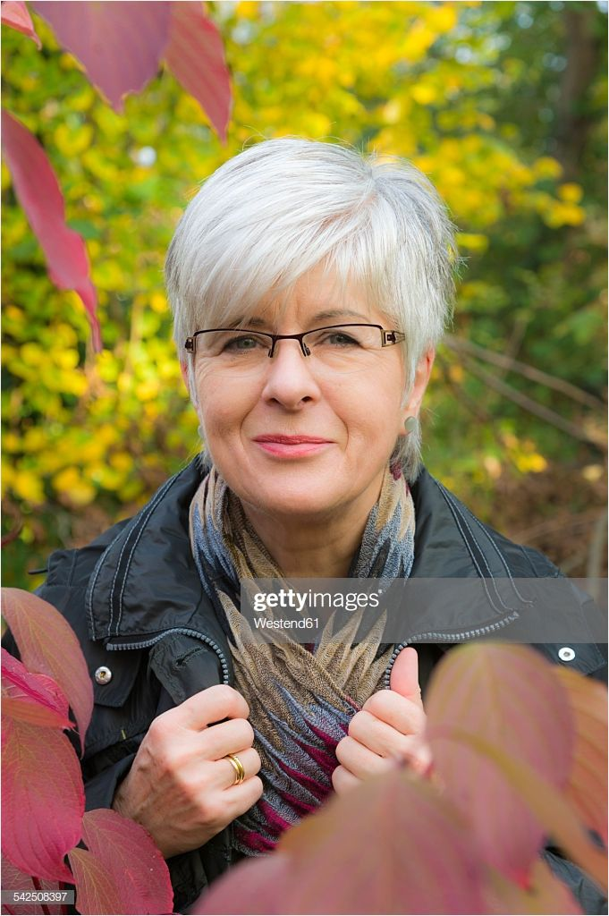 Portrait Smiling Senior Woman with Short Grey Hair Perfect