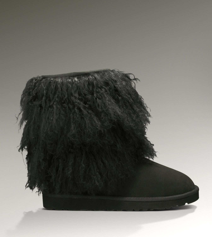 ... UGG Short Sheepskin Cuff 1875 Black Boots ...