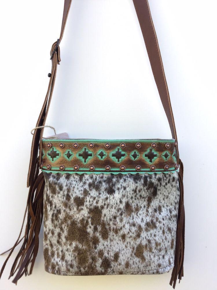 1e6ebcff5 Cowhide Western Leather Handbag Cross Body Purse w/ Fringe Rodeo- K Bar J  D17 | eBay