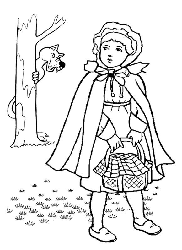 Little Red Riding Hood Brings The Basket Coloring Page For Kids