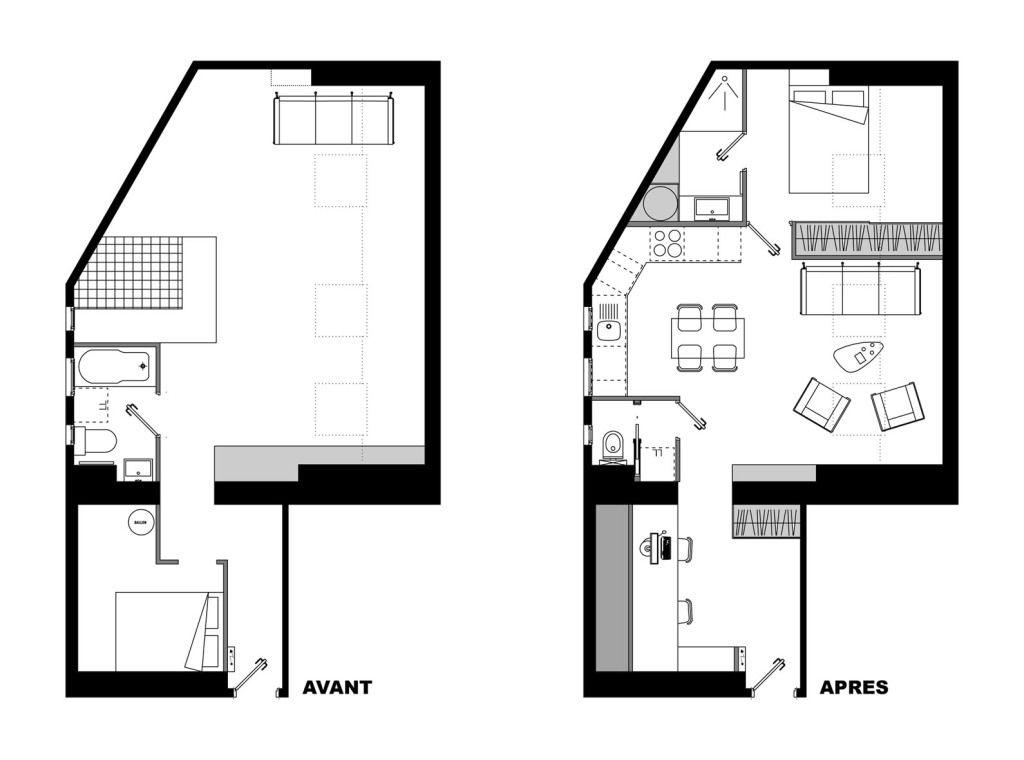 Super Petit Studio De Moins De 50 Mètres Carrés Comprenant Un Plan D'étage