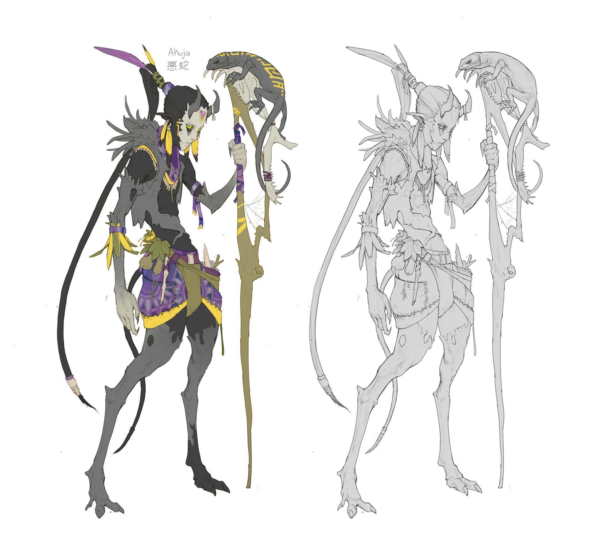 ArtStation - Akuja 悪蛇 - Tiefling Druid, Rich Carey