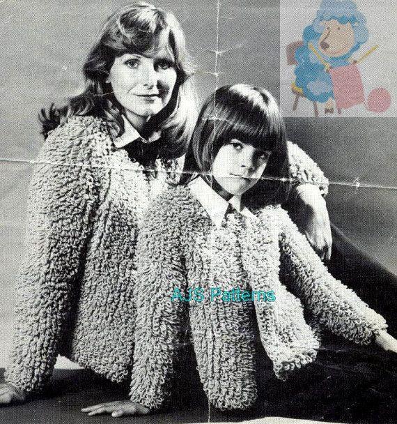 Pdf Knitting Pattern Ladies Childs Loop Or Loopy Stitch Jacket