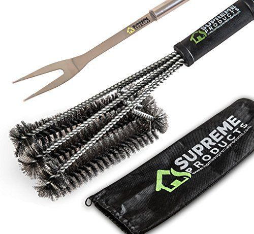 BBQ Grill Brush  Stainless Steel Fork By Home Supreme Products18 with 3X Super Thick Brushes Long Handle Great for Charcoal Weber Gas Electric Porcelain  Infrared FREE HANDY BAG * Want additional info? Click on the image.