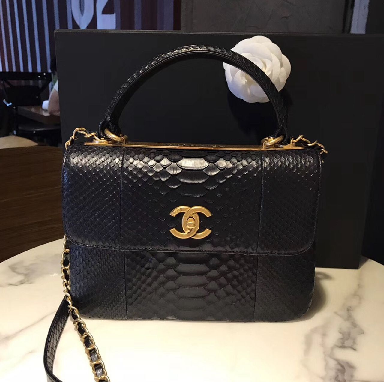 50aa1c13e901 Chanel Small Trendy CC Flap Bag With Top Handle In Black Python Leather 2017