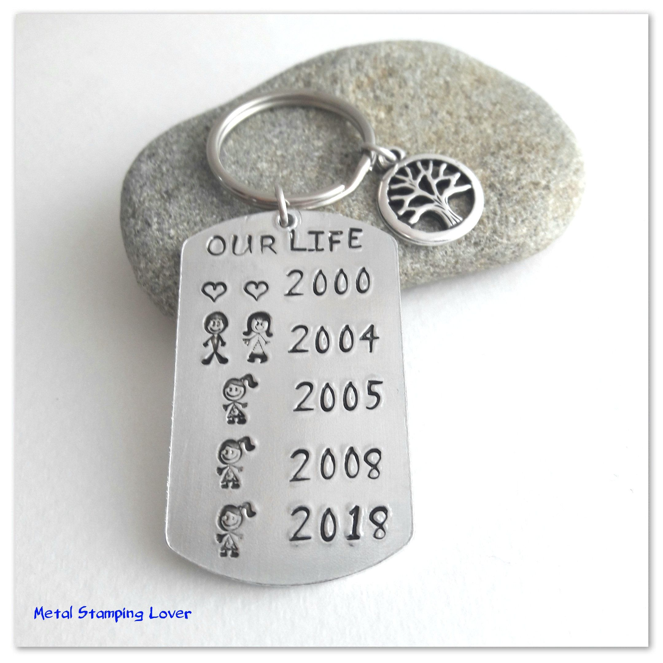 Anniversary Gift For Husband Hand Stamped Personalised Keyring