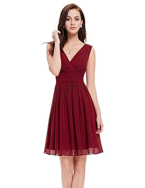 Süßes kurzes Cocktailkleid für Hochzeit oder Party. Perfektes Kleid für  Brautjungfern auf einer Hochzeit zum Farbthema bordeaux rot. 6e43277056