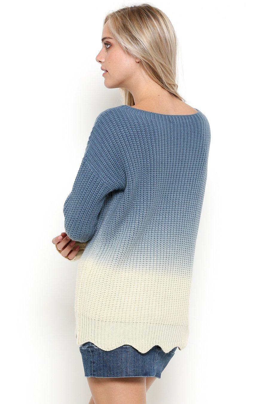 Blue Moon Two Tone Long Sleeve Sweater