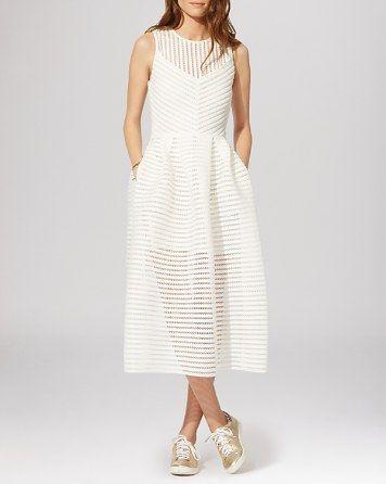 Maje Dress - Rire Mesh Stripe Midi | Bloomingdale's
