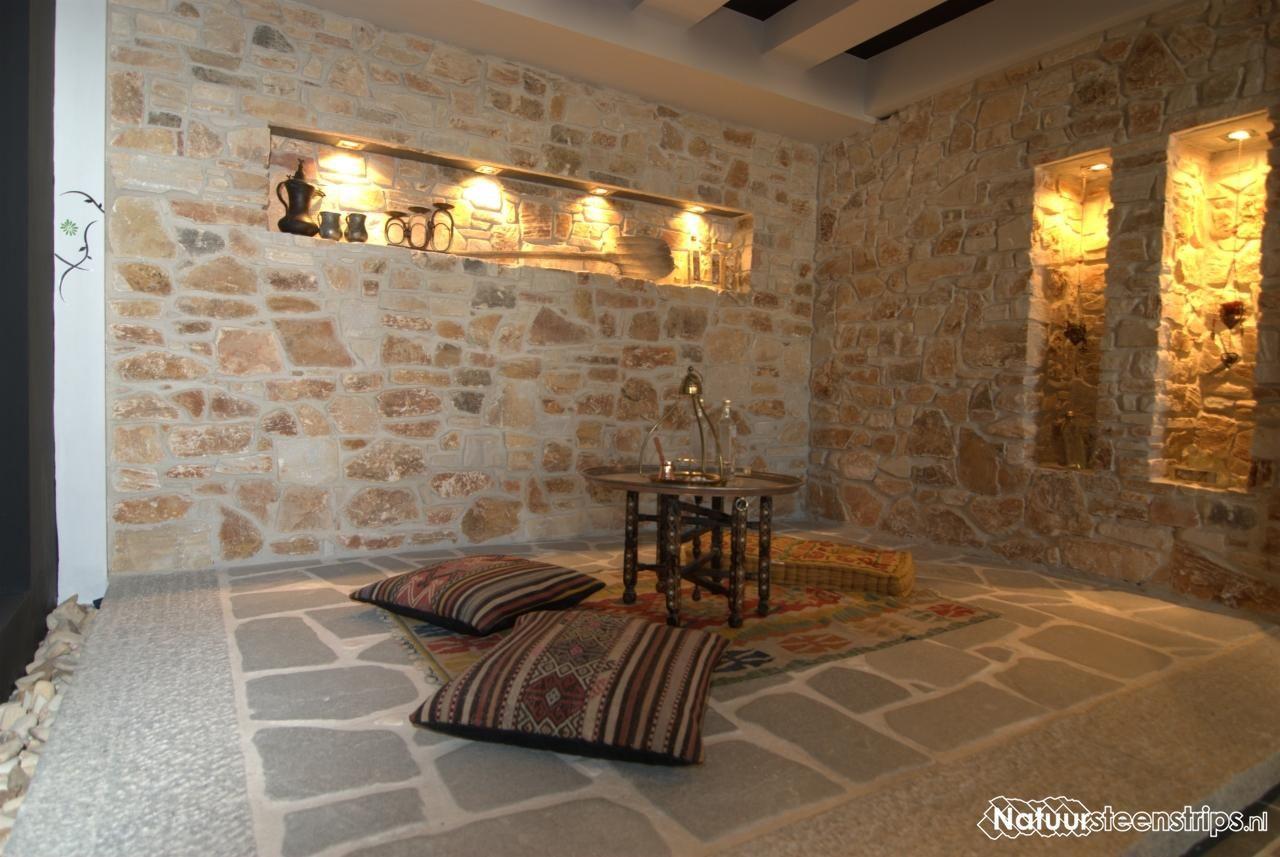 natuurstenen muren in combinatie met flagstones. bezoek ook eens, Deco ideeën