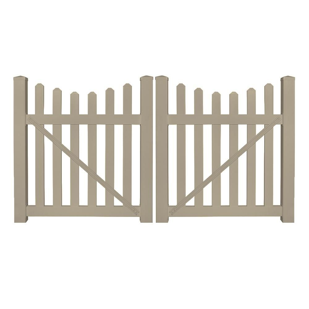 Weatherables Ellington 8 Ft W X 5 Ft H Khaki Vinyl Picket Fence Double Gate Kit Dkpi 3sc 5x48 Vinyl Picket Fence Double Gate Vinyl Gates