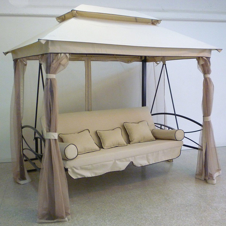 gazebo parasole da giardino con dondolo letto e zanzariere