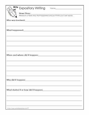 Write A News Report Worksheet