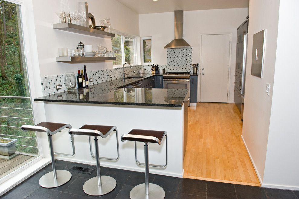 Winsome Stainless Steel Shelves home interior design Modern Kitchen  Portland home insurance breakfast bar corner windows