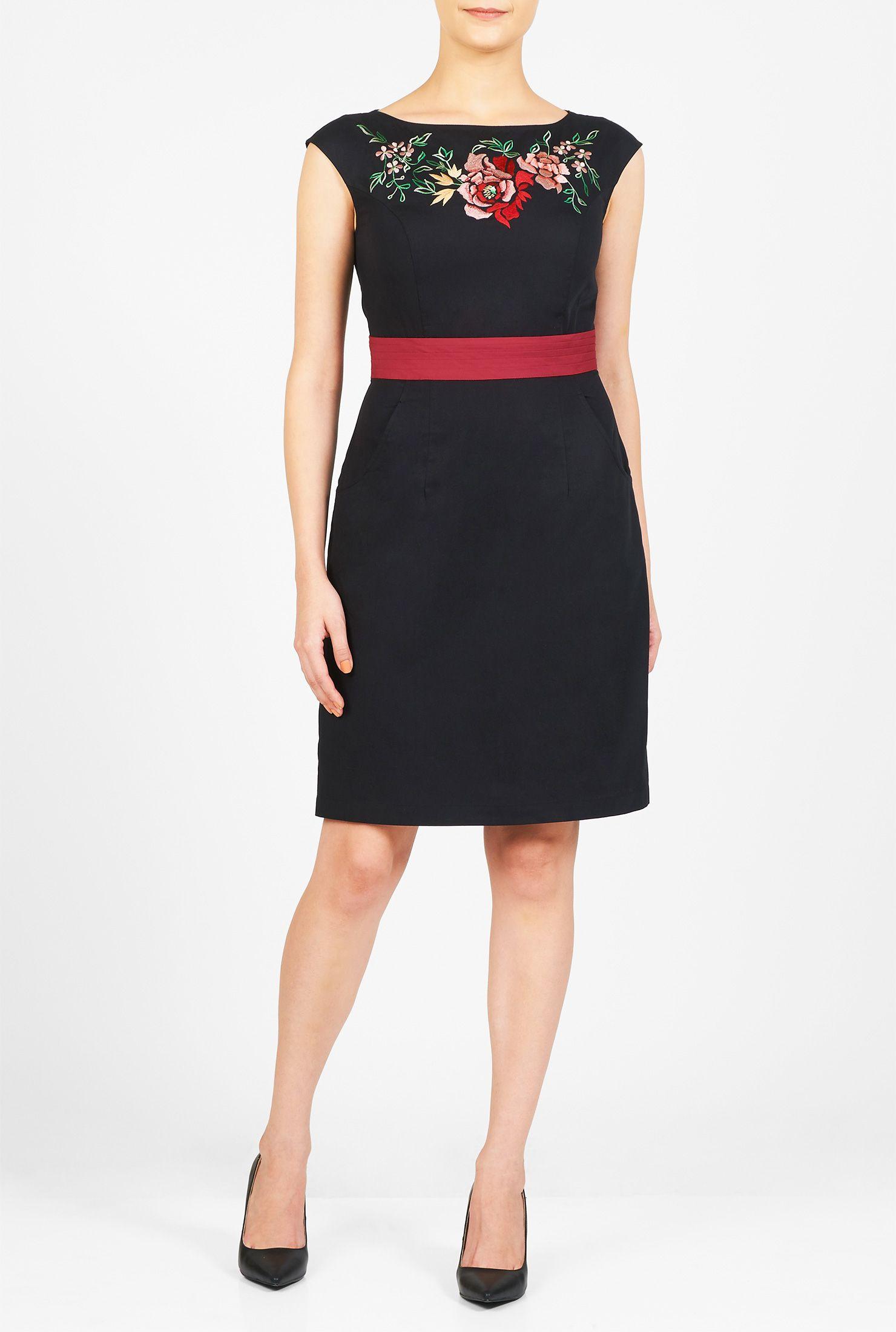 Above knee length dresses back zip dresses black and red dresses