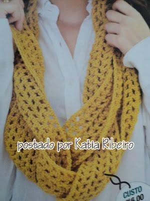 Katia Ribeiro Moda   Decoração Handmade  Cachecóis e Golas com Receitas e  Gráficos ( Crochê e Tricô ) 2d3e73979a0