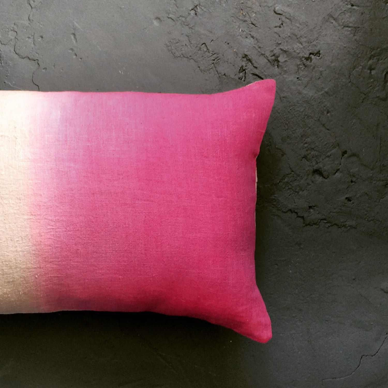 Hot Pink And Natural Linen Ombre Cushion Cover Dip Dyed Rectangle