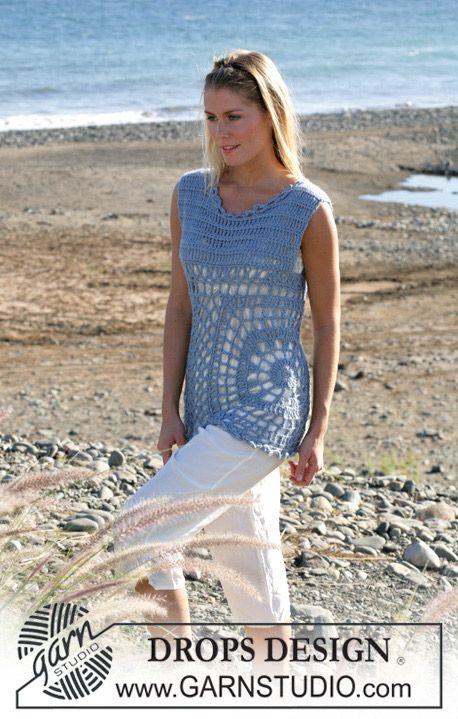 free pattern - Pretty summery overblouse. DROPS crochet top in ...