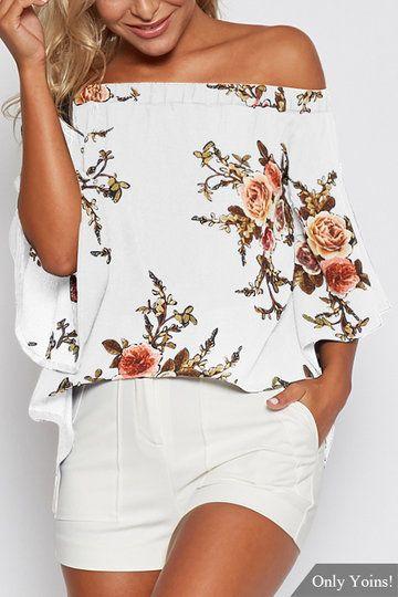 Random Floral Print Off Shoulder Splited Blouse in White