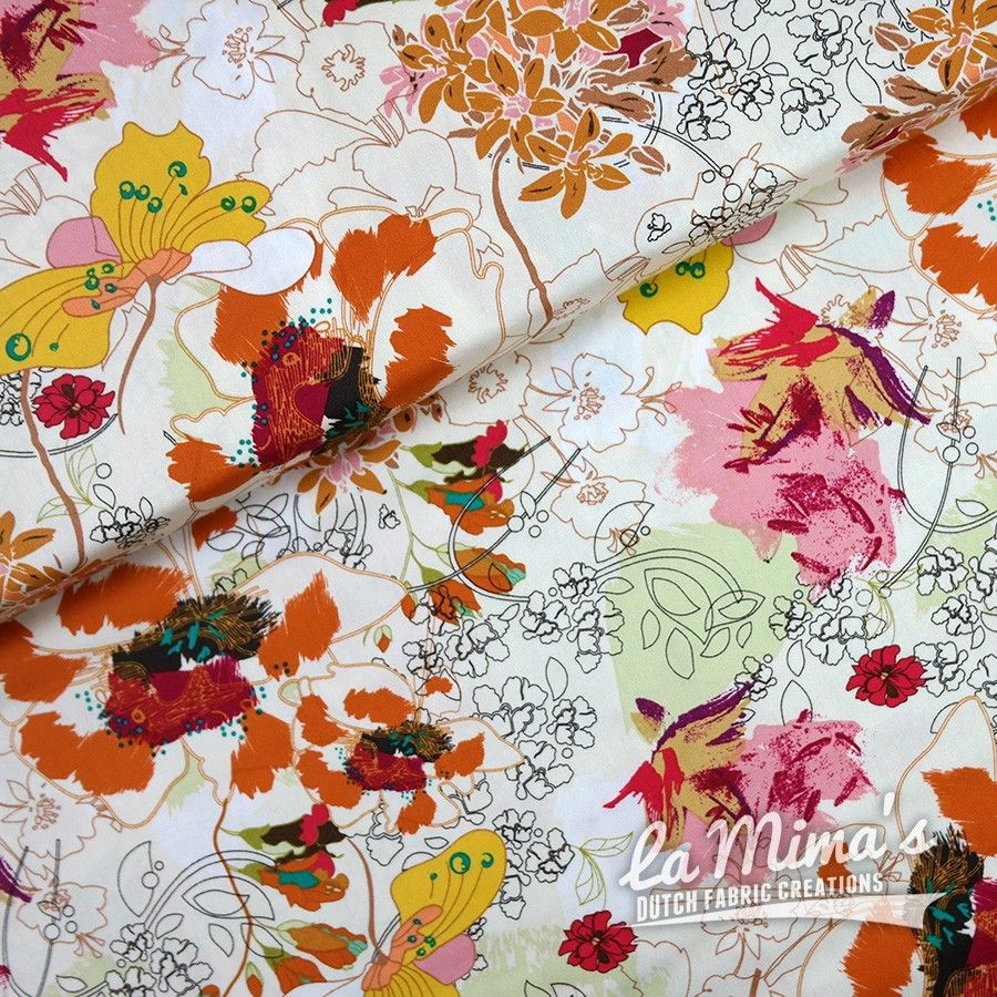 SOLD OUT! - Lovely print by Art Gallery Fabrics: Painted Flowers. Available at la Mima's only € 14.50 p/m