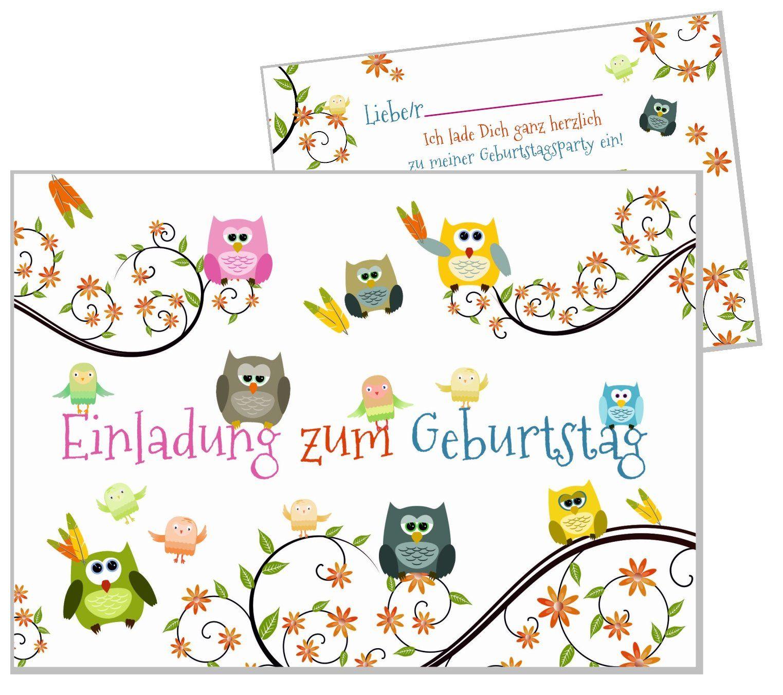 8 Einladungskarten Lustige Eulen Geburtstagseinladungen