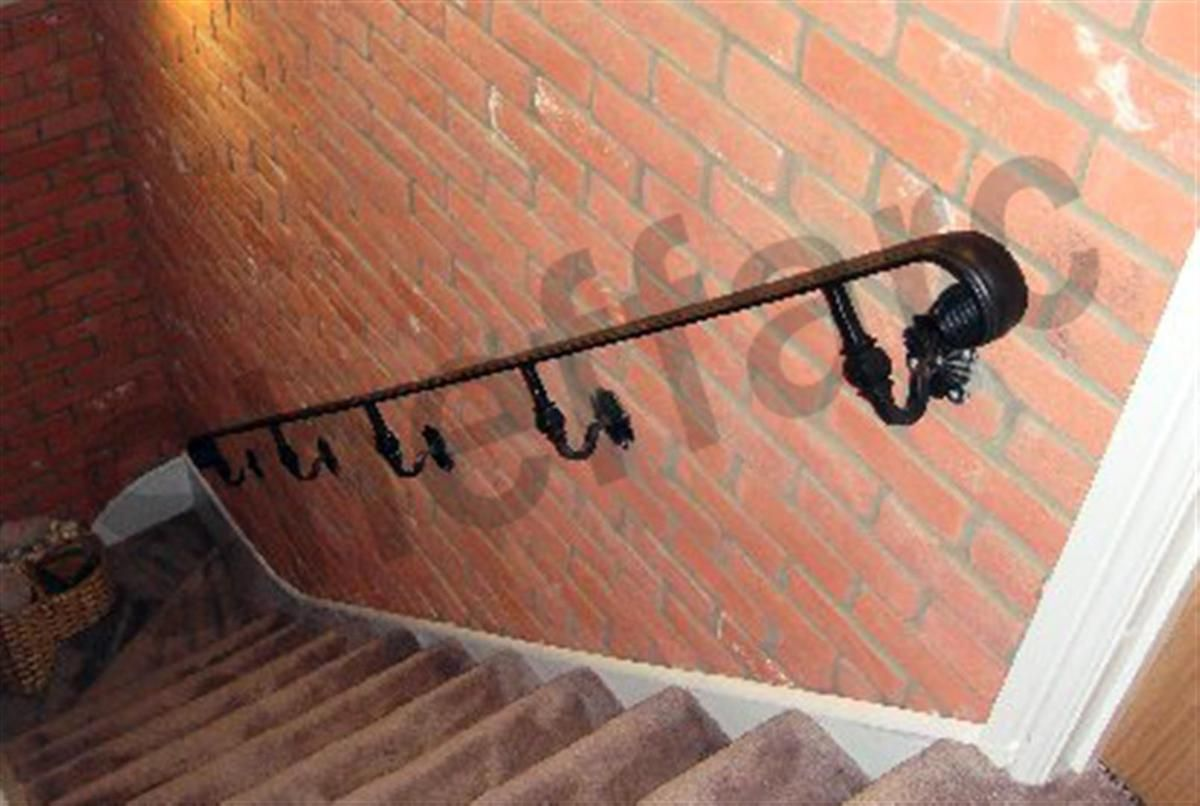 Wrought Iron Style Handrail With Scroll Ends Ornamental Brackets