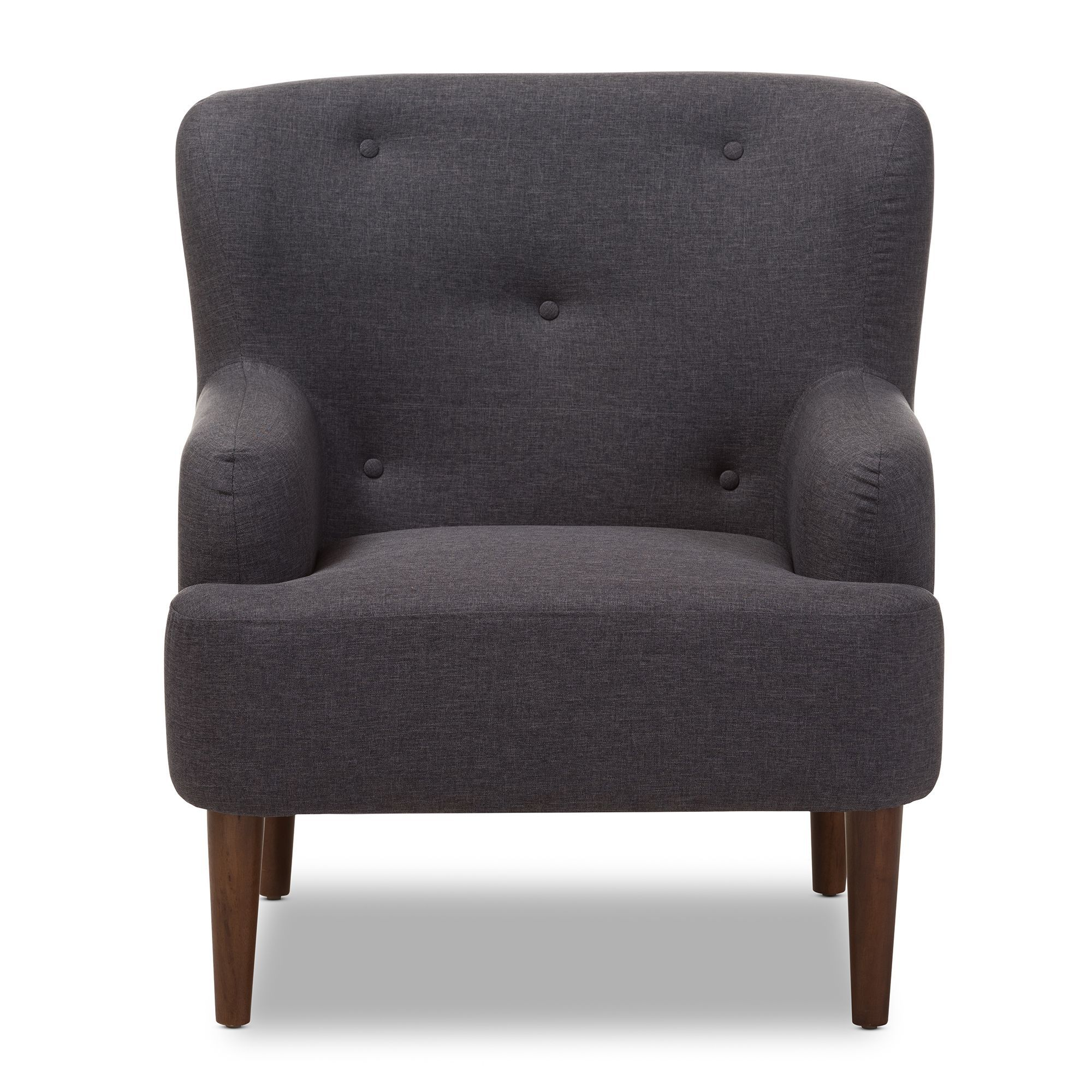 Baxton Studio Dimitrios Mid-Century Modern Upholstered Walnut Wood Button-Tufted Armchair
