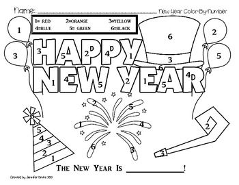 new year coloring pages for preschoolers | New Year Color By Number FREEBIE! | Preschool - Coloring ...
