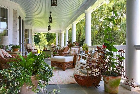 Mud Pie Studio: Haint Blue Painted Porch Ceilings - source the Home Bunch