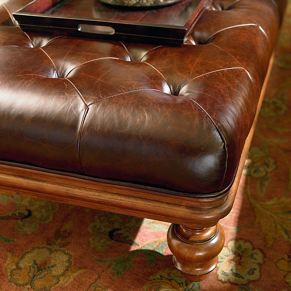 Leather And Wood Ottoman Coffee And Cocktail Table Wood Ottoman Bassett Furniture Ottoman Coffee [ 1000 x 1000 Pixel ]