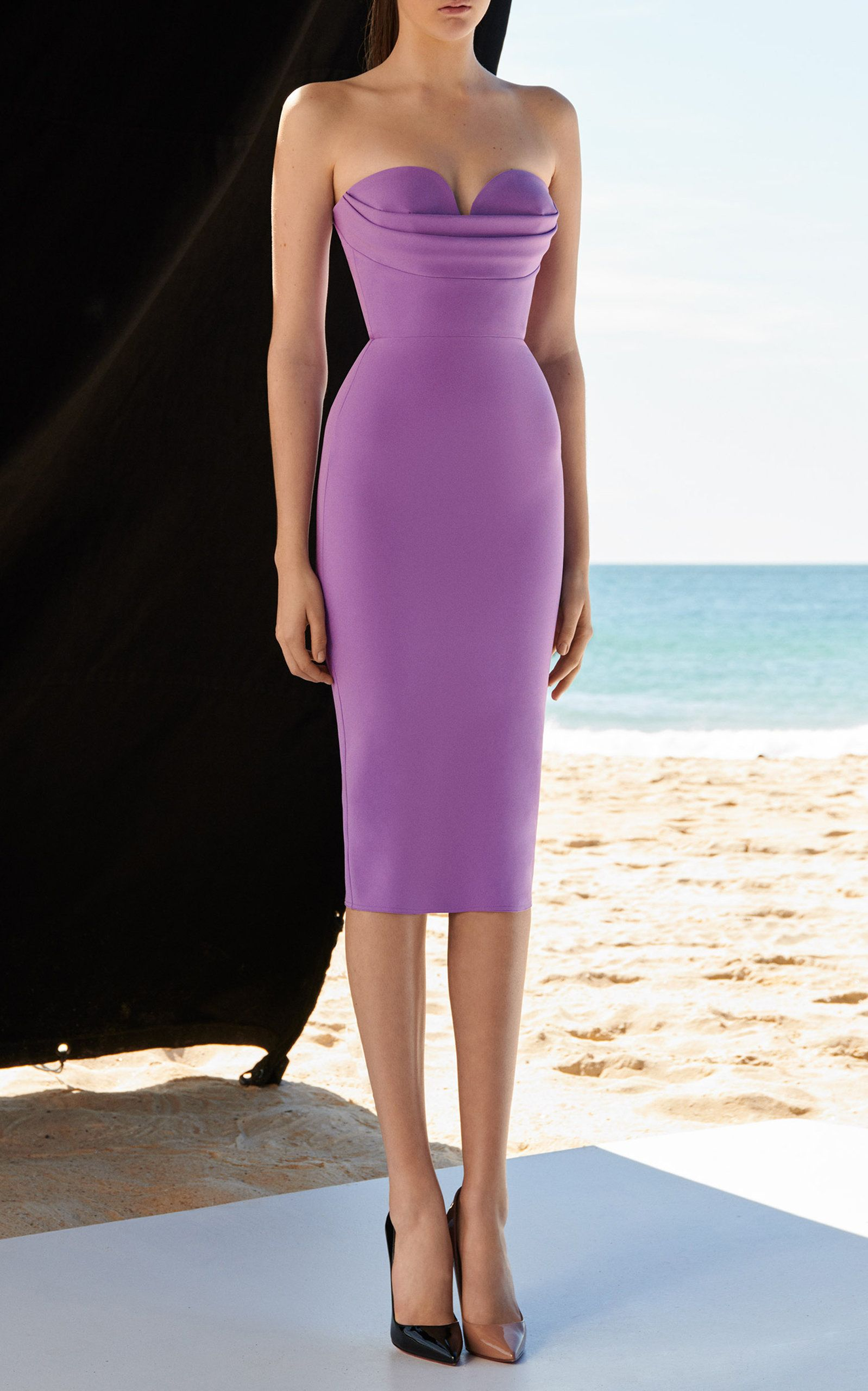d70fb590b75d Click product to zoom. lavender elegant cocktail dress Corley Strapless  Stretch Midi ...