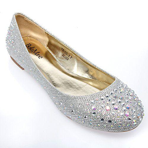 2c1e6db02d87c V-Luxury Womens 40-TRISS1 Round Toe Rhinestones Bridal Flat Ballerina  Ballet Shoes, Silver Glitter, 8.5 B (M) US