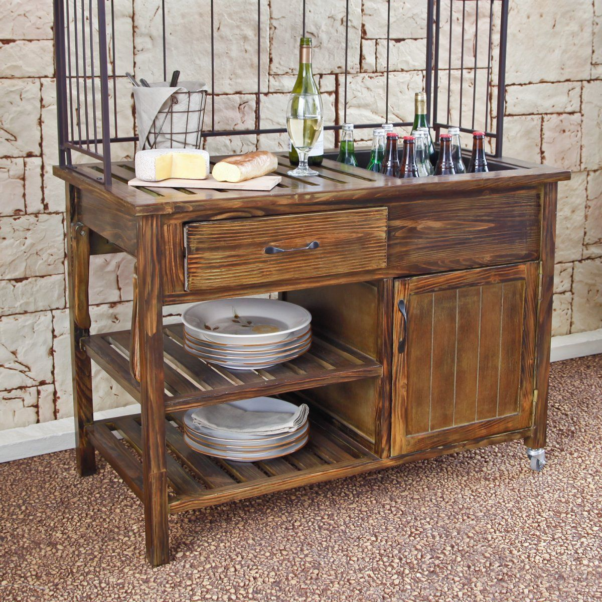 Courtyard Rustic Outdoor Buffet Patio Accessories at